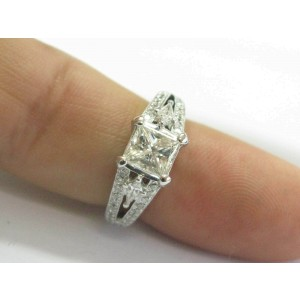 Natalie K Princess & Kite Shape Diamond Engagement Ring 14Kt WG 2.04Ct EGL