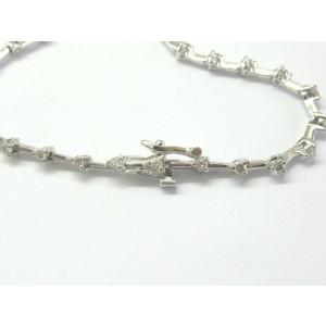 "Natural Round Cut Diamond Three Prong White Gold Bracelet 27-Stones .80Ct 7"""