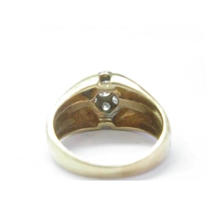Fine Round Cut Diamond 7-Stone Cluster Yellow Gold Mens Ring .60CT