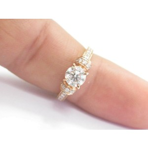 Fine Round Cut Diamond Solitaire With Accent Rose Gold Engagement Ring .91CT