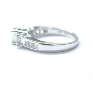 Fine Princess Cut Diamond Three Stone Engagement White Gold Ring 1.04Ct