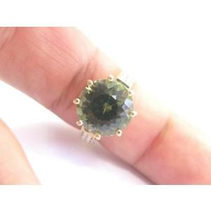 Natural Round Green Tourmaline & Diamond Yellow Gold Ring 18Kt 7.50Ct G-VS2