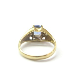 Cushion Tanzanite & Diamond Ring Solid 14KT Yellow Gold 1.07Ct AAAA-VS SIZEABLE