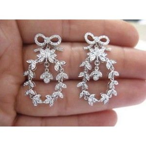 Vera Wang 18Kt White Gold Diamond Ribbon Drop Earrings 1.20CT