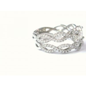 18Kt Round Cut Diamond Engagement Wedding Set White Gold 1.30CT G/VVS