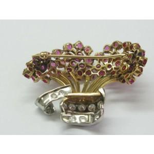 "Bucket of Flower Ruby Diamond Yellow Gold Pin / Brooch 14Kt 1.58Ct 1.5"" x 1.75"""