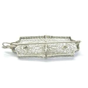 Vintage Old European Cut Diamond 3-Stone White Gold Pin / Brooch / Pendant .20CT