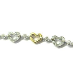 "Two-Tone Diamond Heart Shape Bracelet 18Kt Gold 1.00Ct F-VS1 7"""