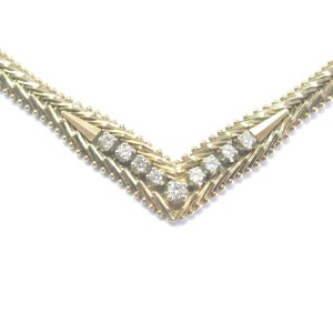 "Diamond Yellow Gold V Necklace .25Ct 16.5"" G/VS2 9-Stones"