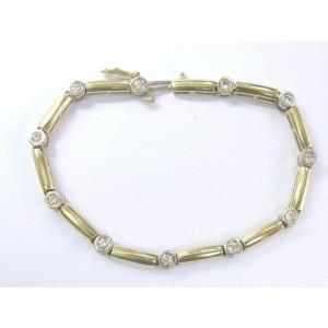 "Fine Round Cut Diamond Bezel Set Yellow Gold Tennis Bracelet 7"" 1.20Ct"