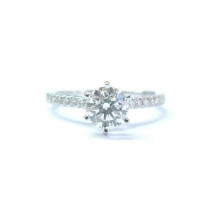 Round Cut NATURAL Diamond Solitaire W Accent Engagement White Gold Ring IGI