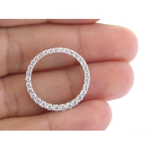 18Kt Round Cut Diamond White Gold Circular Pendant 1.00Ct