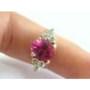 Hot Pink Tourmaline & Diamond Anniversary Ring 18KT Yellow Gold 4.10CT SIZEABLE