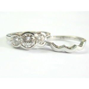 Three Stone Bezel Set Diamond Engagement Set Platinum 950 1.25Ct F-VS2
