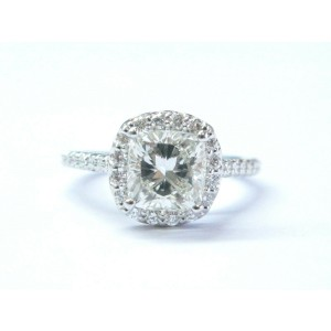 Ritani Platinum Cushion Cut NATURAL Diamond Halo Engagement Ring 2.50C GIA L-VS1