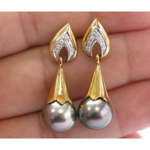 "Natural Black Pearl Diamond Yellow Gold Drop Earrings 11.6mm .12Ct 1.5"" G-VS"