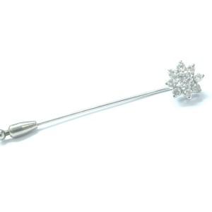 Fine Round Brilliant Diamond Flower Pin / Brooch White Gold .99Ct