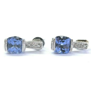 Natural Cushion Tanzanite & Diamond Solid White Gold Dangle Earrings 2.03Ct AAAA