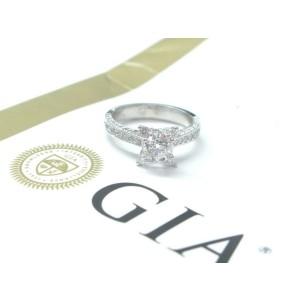 18Kt Round NATURAL Diamond Engagement White Gold Jewelry Ring 1.65Ct GIA E-VS1