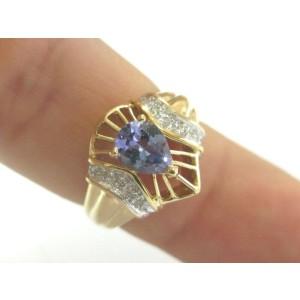 Pear Shape Tanzanite & Diamond Ring 14Kt Yellow Gold 1.02Ct SIZEABLE