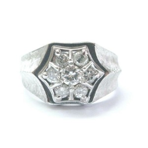 Men's Natural Round Diamond White Gold Cluster Jewelry Ring 14Kt .75Ct Sizeable