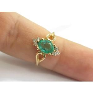 Green Emerald & Diamond Ring 14Kt Yellow Gold 1.00Ct + .12Ct SIZEABLE