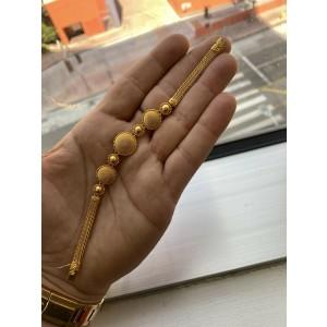 "22Kt Circular Yellow Gold Handmade Greek Designer Bracelet 7"""