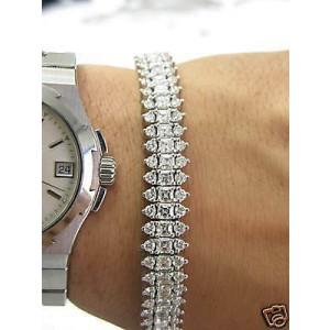 Asscher & Round Cut Diamond Three-Row White Gold Tennis Bracelet 14K 13.68Ct HVS