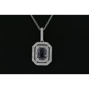 Levian Pendant Gray Spinel Vanilla Diamonds 14k White Gold