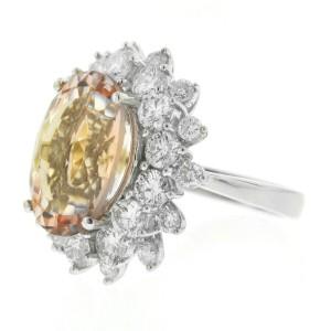 18k White Gold Oval Morganite Diamond Flower Halo Ring Aprox.2.38ctw