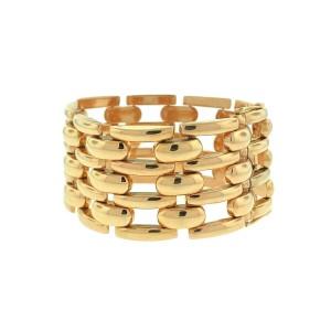 18k Rose Gold Wide 4 Row Link Cuff Bracelet