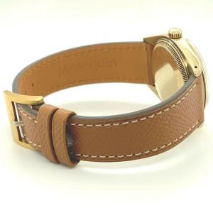 Rolex 1503 34mm Date 18k Yellow Gold Watch Head On Custom Brown Strap