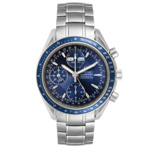 Omega Speedmaster Day Date Blue Dial Chronograph Watch 3222.80.00