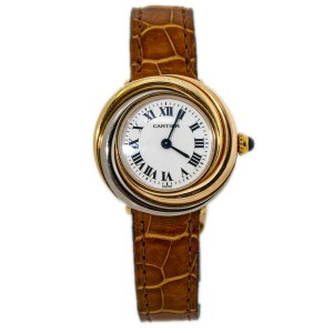 Cartier Trinity 2357 18k Tricolor Gold Bezel Deployment Buckle Ladies Watch 27mm