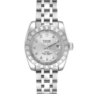 Tudor Classic Date Stainless Steel Diamond Ladies Watch 22010