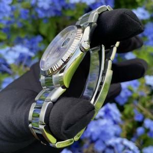 Rolex 115234 Datejust Silver Diamond Dial Fluted Bezel Stainless Steel Watch
