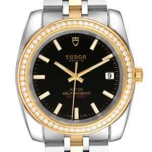 Tudor Classic Date Steel Yellow Gold Diamond Mens Watch 21023