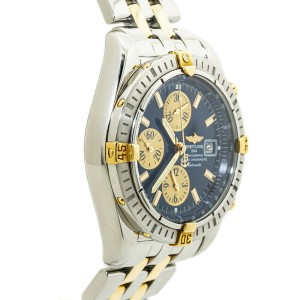 Breitling Chronomat B13356 Chronograph 18K Two Tone Mens Watch 44mm Box & Papers
