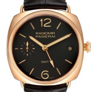 Panerai Radiomir 3 Days 1940 GMT 18k Rose Gold Mens Watch PAM00421