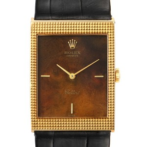 Rolex Cellini 18k Yellow Gold Wooden Dial Vintage Mens Watch 4127