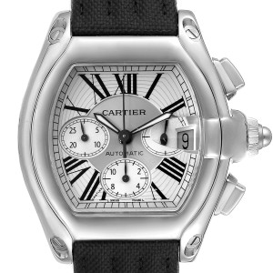 Cartier Roadster XL Chronograph Silver Dial Steel Mens Watch W62019X6