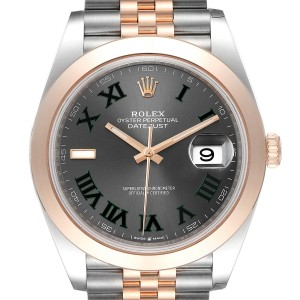 Rolex Datejust 41 Steel Rose Gold Grey Green Dial Mens Watch 126301