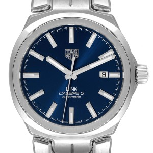 TAG Heuer Link Steel Blue Dial Automatic Mens Watch WBC2112 Box Card