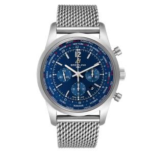 Breitling Transocean Chronograph Blue Dial Steel Watch AB0510