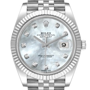 Rolex Datejust 41 Steel White Gold MOP Diamond Mens Watch 126334