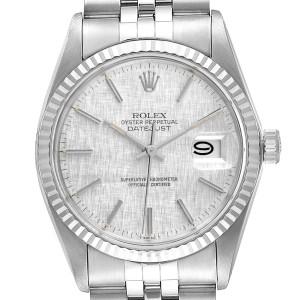 Rolex Datejust Steel White Gold Silver Linen Dial Vintage Watch 16014