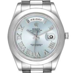 Rolex President Day-Date 41 Blue Diamond Dial Platinum Watch 218206