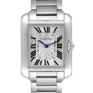 Cartier Tank Anglaise Midsize Steel Ladies Watch W5310044 Box Papers