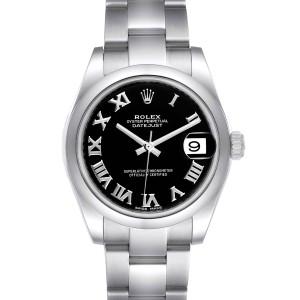 Rolex Datejust Midsize Black Dial Steel Ladies Watch 178240