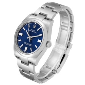 Rolex Oyster Perpetual Blue Dial Steel Mens Watch 126000